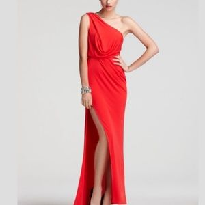 BCBG Red Berry Snejana One Shoulder Gown